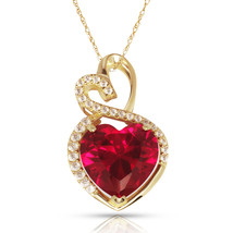 4.20 Carat Halo Ruby Double Heart Gemstone Pendant & Necklace14K Yellow ... - $173.25