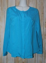Womens Blue Ann Taylor Silk Blend Long Sleeve Shirt Size 8P excellent - $4.94