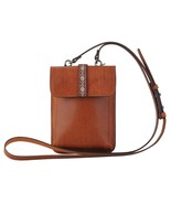 Mini Genuine Distressed Leather Tan Crossbody Bag or Wear as a Clip-On 5... - $39.95