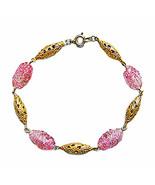 Pink Murano Glass Beads/ Filigree Links 14k Gold Bracelet - $36.99
