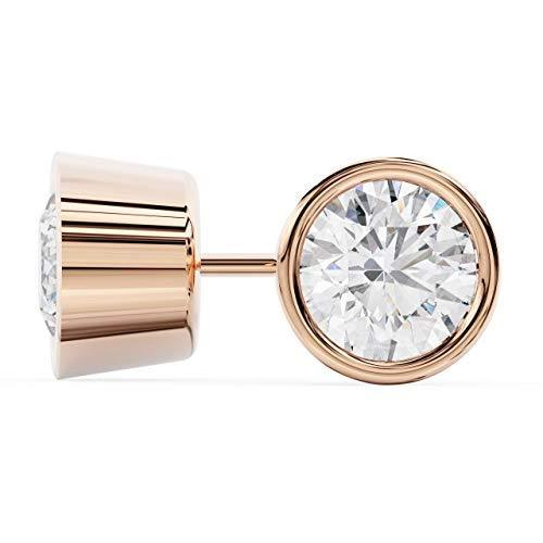 Brilliant Round Cut Solitaire Diamond Stud Earrings | Bezel Setting | 14k Rose G
