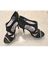Ladies Bakers Black Suede With Gold Zip Platform Ultra High Heel Sandals... - $23.38