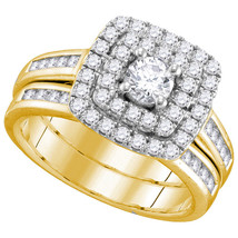 14kt Yellow Gold Round Diamond Bridal Wedding Engagement Ring Band Set 1.00 Ctw - $1,499.00