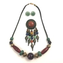 Vintage Beaded Necklace Brooch Earrings Set Plastic Metal Beads Tribal N... - $34.60