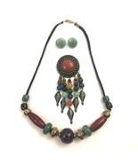 Vintage Beaded Necklace Brooch Earrings Set Plastic Metal Beads Tribal N... - $34.60