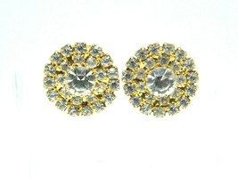 Clear Rhinestone Round Gold Tone Post Earrings 1980s Vintage Bling - $19.79