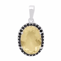 Lemon Quartz & Black Spinel Stone Pendant 925 Sterling Silver Jewelry SH... - $38.32