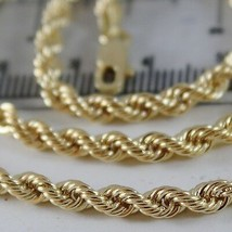 18K YELLOW GOLD CHAIN NECKLACE 4 MM BIG BRAID ROPE LINK 17.70 IN. MADE IN ITALY image 2