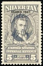RG74, $5 VF 1941 Silver Tax Revenue Stamp Cat $100.00 - Stuart Katz - $75.00