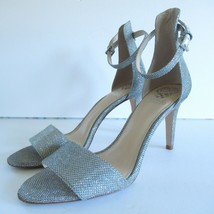 Vince Camuto Heels 10 Metallic Silver Glitter Ankle Strap Cocktail Party Wedding - $32.43