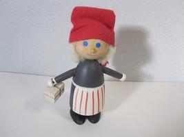 "Mrs Santa Wooden Figure Made Boras Sweden 4.5"" Tall - $9.46"