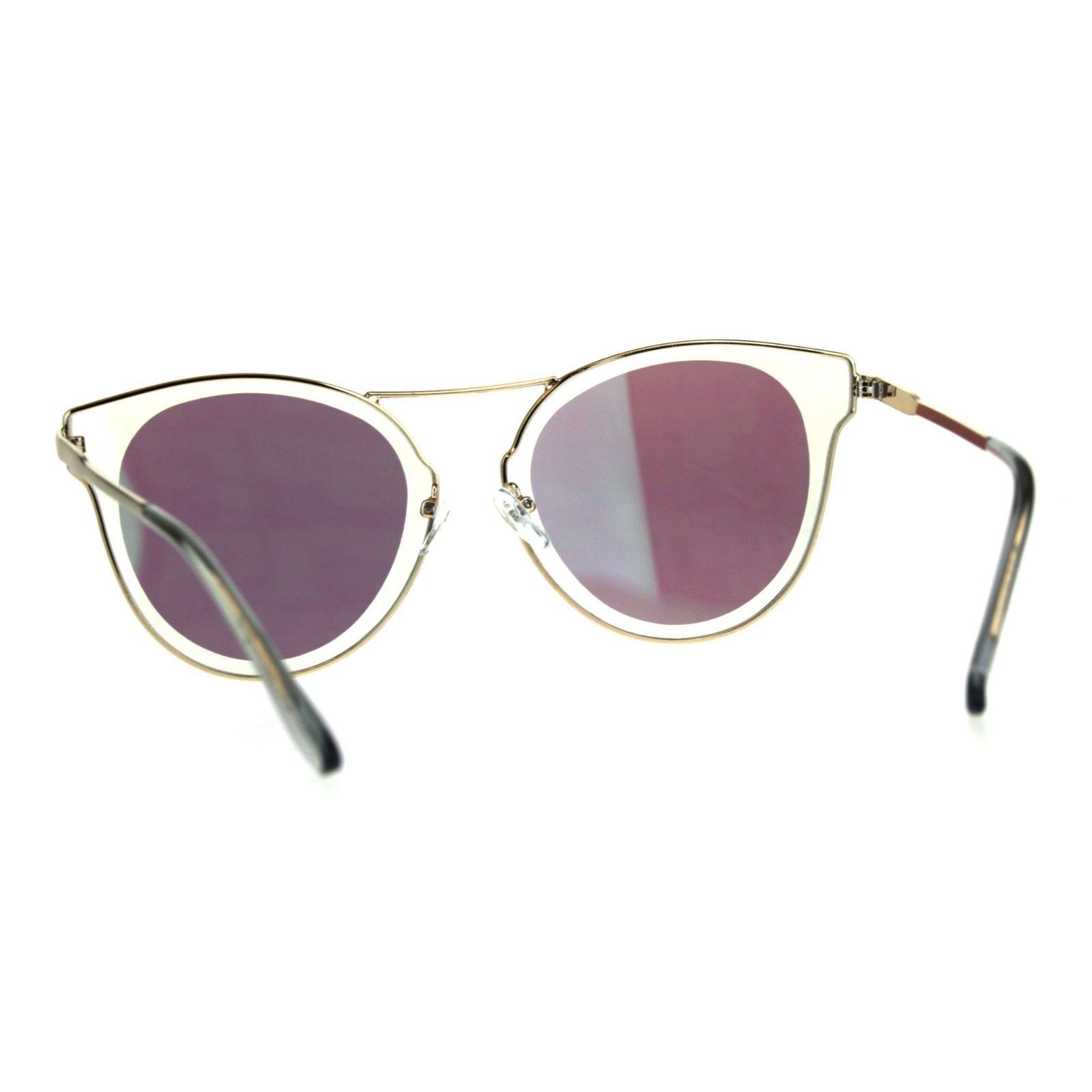 Womens Fashion Sunglasses Gold Metal Butterfly Frame Mirror Lens
