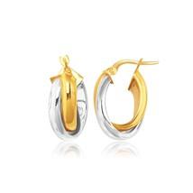 14k Two-Tone Gold Double Row Intertwined Oval Hoop Earrings Womens Fine Fashion - $284.24