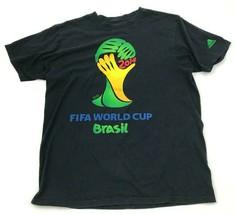 Adidas FIFA World Cup Brazil Soccer Shirt Mens Size Large L Black Yellow... - $17.83