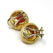 18K YELLOW GOLD BUTTON EARRINGS CABOCHON ROUND RED CORAL WORKED MULTI WIRE FRAME image 3