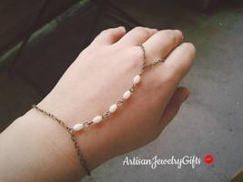 Gold Slave Bracelet White Beaded Hand Chain Boho Slave Bracelet Bohemian... - $48.00