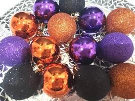 "(15) Halloween Glitter Plastic Purple Orange Ball Ornaments 2.5"" Decorat... - $16.99"