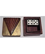 Small Case Collectible Wood Walnut Box with pair of Die/Dice - $15.95