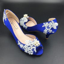 Blue Lace Pearls Satin Low Heels Wedding Shoes,Women RoyalBlue Lace Bridal Heels - £38.83 GBP
