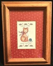 Vintage Cat Framed Art Print Wall Hanging Calico - $12.81