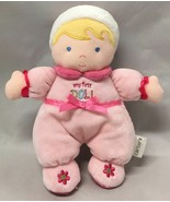 Carters My first Doll Blond hair Girl w/hat baby rattle pink flowers & Bow - $9.85
