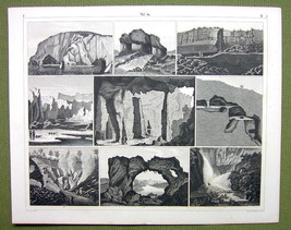 WORLD WONDERS Cave Caverns Sicily Tivoli Staffa - 1844 SUPERB Print Engr... - $16.20