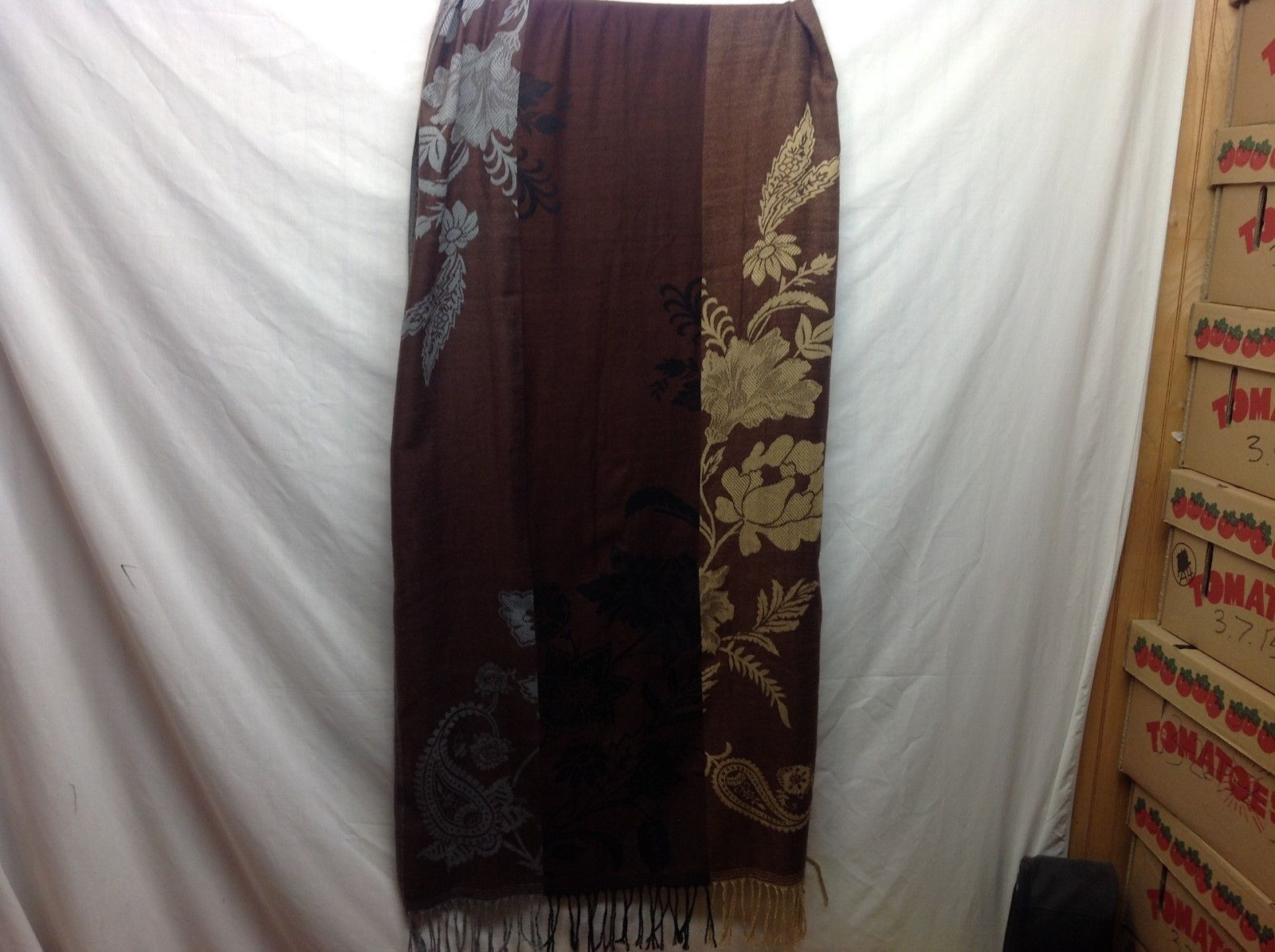 Long Frilly Multicolored Scarf Shawl w Floral Design