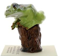Hagen-Renaker Miniature Ceramic Frog Figurine Tree Frog on Stump image 1