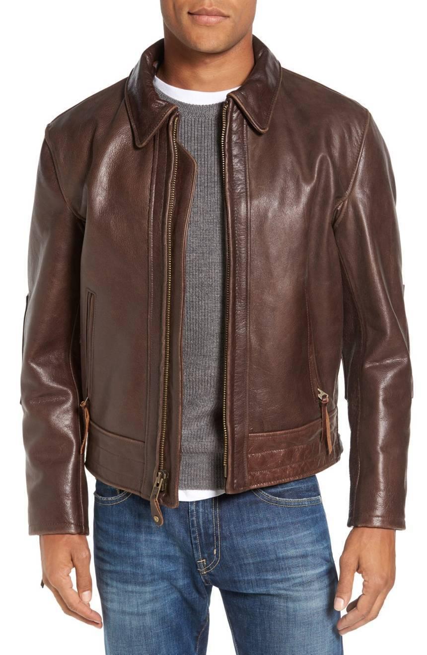 New Men's Genuine Lambskin Leather Jacket  Slim fit Biker Motorcycle jacket-G45