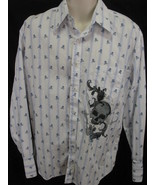 Fender Guitar Rock & Roll Lifestyle Long Sleeve Button Up Skulls Crossbo... - $22.52