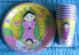 VIRGENCITA GUADALUPE Party Baptism FAVOR Birthday PLATES CUP x6 Lupita F... - $9.85