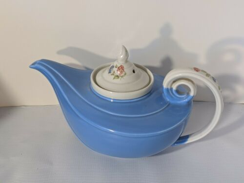 Primary image for Hall Superior China Royal Rose Blue Aladdin Teapot w/ Strainer - Perfect