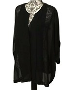 Lane Bryant Notch Neck Roll-Tab Sleeve Blouse Size 22/24 Sexy Black Butt... - $16.15