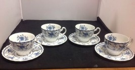 JOHNSON BROTHERS INDIES BLUE Set of 4 - Cups and Saucers - $9.75