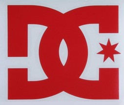 """One Authentic Red DC Shoes Logo Decal 7"""" Snowboard Skateboard TRANSFER STICKER"""