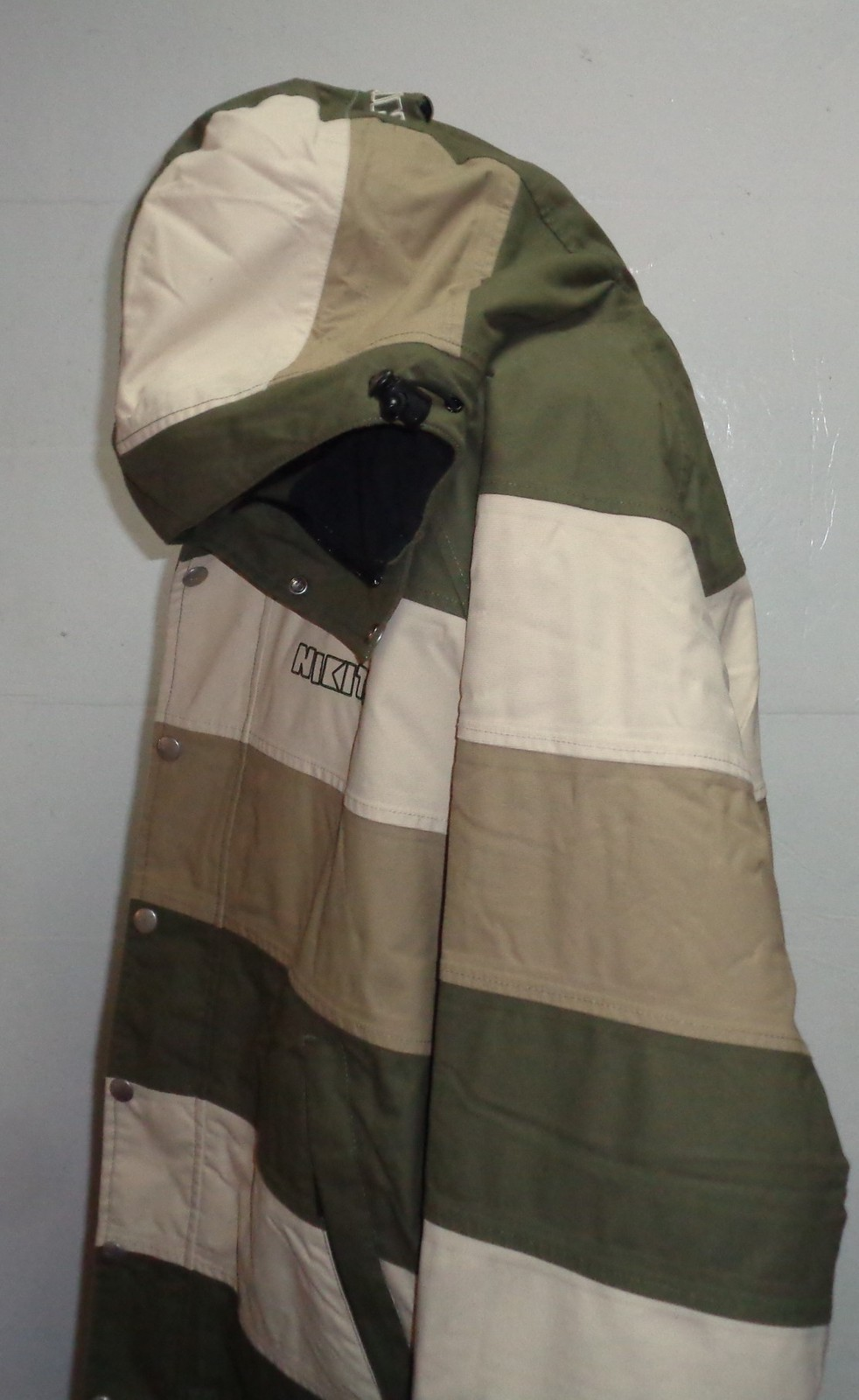 Nikita Women's Coat Jacket Hoodie Army Gray & Green Striped NWOT SZ M