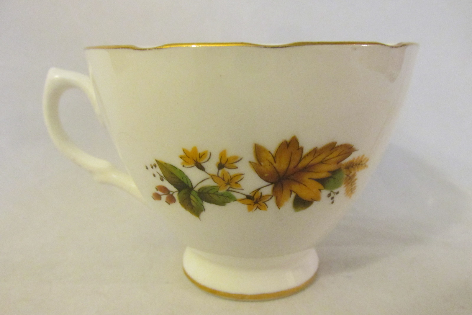 Vintage English Bone China Fall Leaves Pattern Cup & Saucer - Royal Vale, 1960s