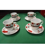 Great Set of 4 DEMITASSE Cups and Saucers..ROSE Design - $11.47