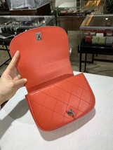 100% Auth NEW Chanel RED Quilted Calfskin Top Handle Flap Bag RECEIPT  image 7