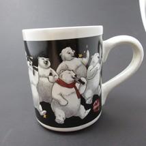 Coka Cola 1996 vintage Polar Bear Party , Coffee Mug Tea Cup stars  - $8.42