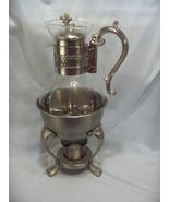 Vintage 4 Pc FB Rogers Pewterlite Glass Carafe Coffee Pot Glass Votive NICE - $84.15