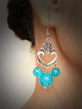 Bohemian Silver Blue Bead Vintage Earrings - $12.00