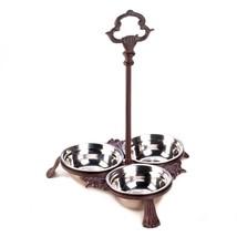 Dog Bowls Set, Cast Iron Decorative Standing Cats Modern Dog Food Bowl S... - $31.49