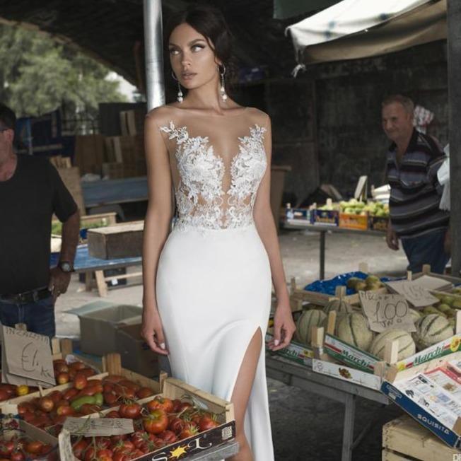 De split wedding gowns lace backless bride dress vestido de 17e70944 1e3b 4c95 8d50 c9d4ea4779bc