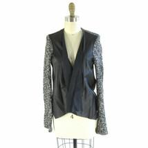 S - Velvet Graham & Spencer Black & White Knit Faux Leather Draped Jacket 0000MB - $29.00