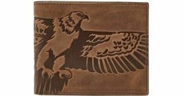 Nuovo Fossil UOMO pelle Aquila Bifold Portafogli Porta Carte di Credito Marrone - $29.73