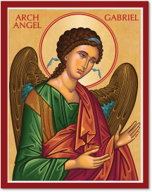 "Cretan-Style Archangel Gabriel Icon - 4.5"" x 6"" print With Lumina Gold"