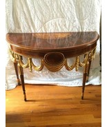 Maitland Smith Half Round Demilune Inlaid Console Table Regency Gold Gil... - $1,282.50