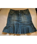 DKNY Jeans Denim Skirt with Flounce Ruffle Women's Size 4P Pre-Owned - $19.75