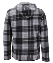 Men's Casual Flannel Zip Up Fleece Lined Plaid Sherpa Hoodie Lightweight Jacket image 15